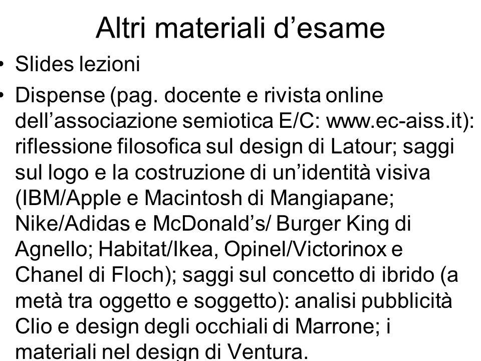 Altri materiali desame Slides lezioni Dispense (pag. docente e rivista online dellassociazione semiotica E/C: www.ec-aiss.it): riflessione filosofica