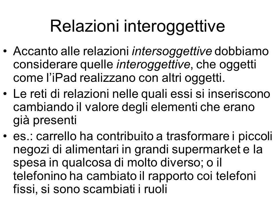 Relazioni interoggettive Accanto alle relazioni intersoggettive dobbiamo considerare quelle interoggettive, che oggetti come liPad realizzano con altr