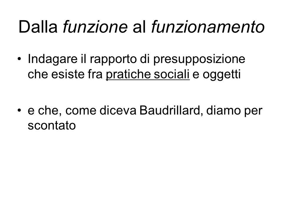 Dalla funzione al funzionamento Indagare il rapporto di presupposizione che esiste fra pratiche sociali e oggetti e che, come diceva Baudrillard, diam