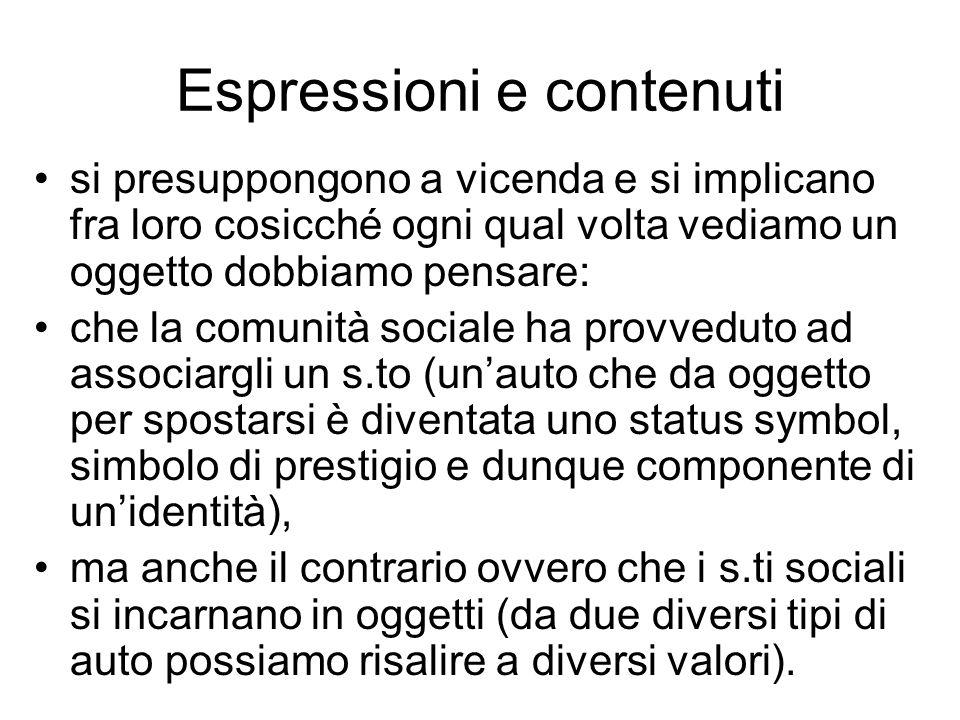 Espressioni e contenuti si presuppongono a vicenda e si implicano fra loro cosicché ogni qual volta vediamo un oggetto dobbiamo pensare: che la comuni