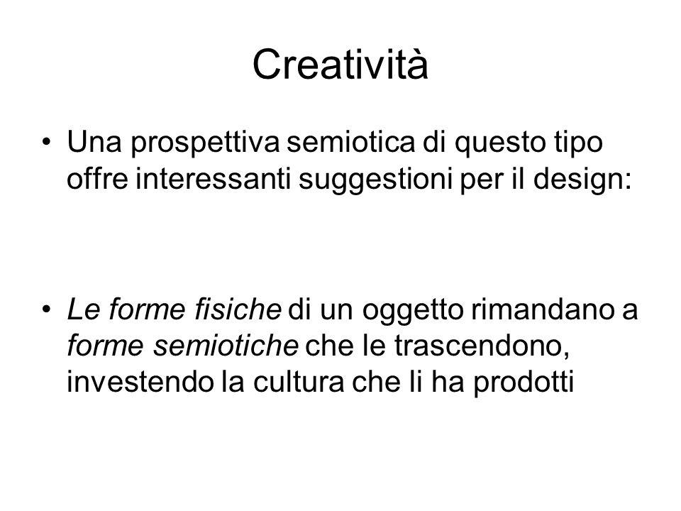 Creatività Una prospettiva semiotica di questo tipo offre interessanti suggestioni per il design: Le forme fisiche di un oggetto rimandano a forme sem