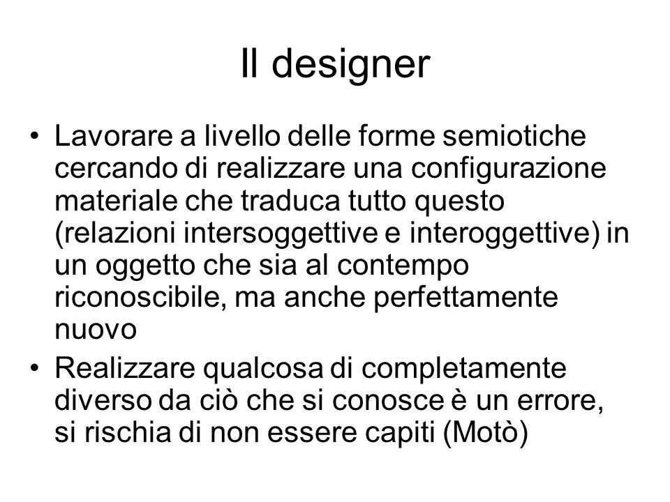 Il designer Lavorare a livello delle forme semiotiche cercando di realizzare una configurazione materiale che traduca tutto questo (relazioni intersog