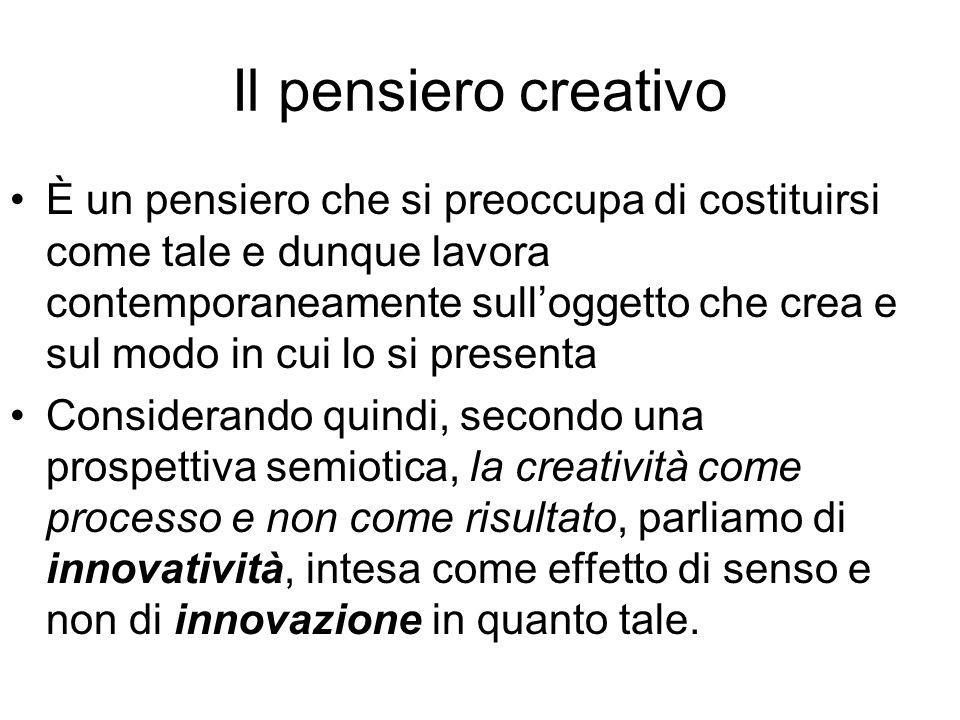 Il pensiero creativo È un pensiero che si preoccupa di costituirsi come tale e dunque lavora contemporaneamente sulloggetto che crea e sul modo in cui