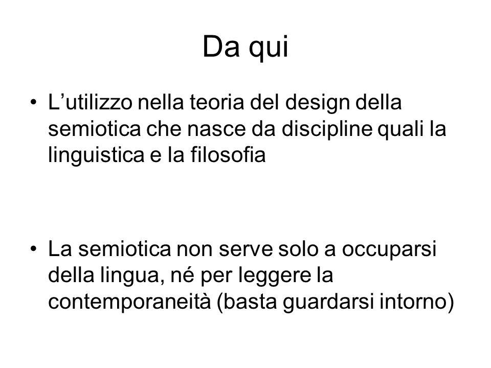 Da qui Lutilizzo nella teoria del design della semiotica che nasce da discipline quali la linguistica e la filosofia La semiotica non serve solo a occ