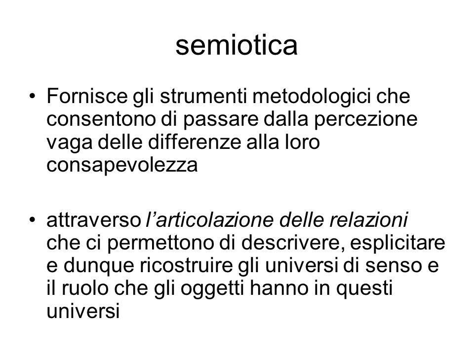 semiotica Fornisce gli strumenti metodologici che consentono di passare dalla percezione vaga delle differenze alla loro consapevolezza attraverso lar