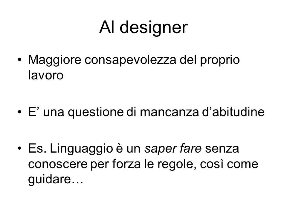 Al designer Maggiore consapevolezza del proprio lavoro E una questione di mancanza dabitudine Es. Linguaggio è un saper fare senza conoscere per forza