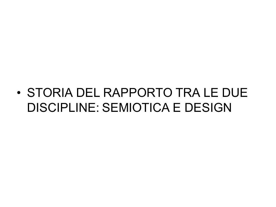 STORIA DEL RAPPORTO TRA LE DUE DISCIPLINE: SEMIOTICA E DESIGN