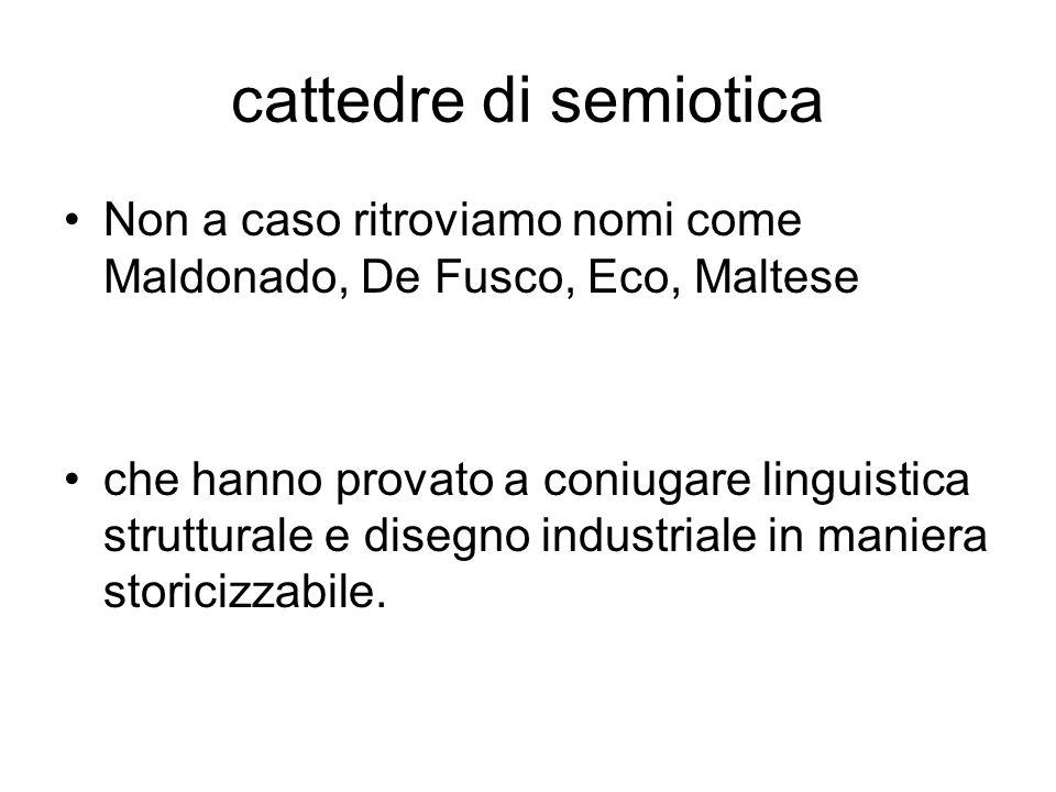 cattedre di semiotica Non a caso ritroviamo nomi come Maldonado, De Fusco, Eco, Maltese che hanno provato a coniugare linguistica strutturale e disegn