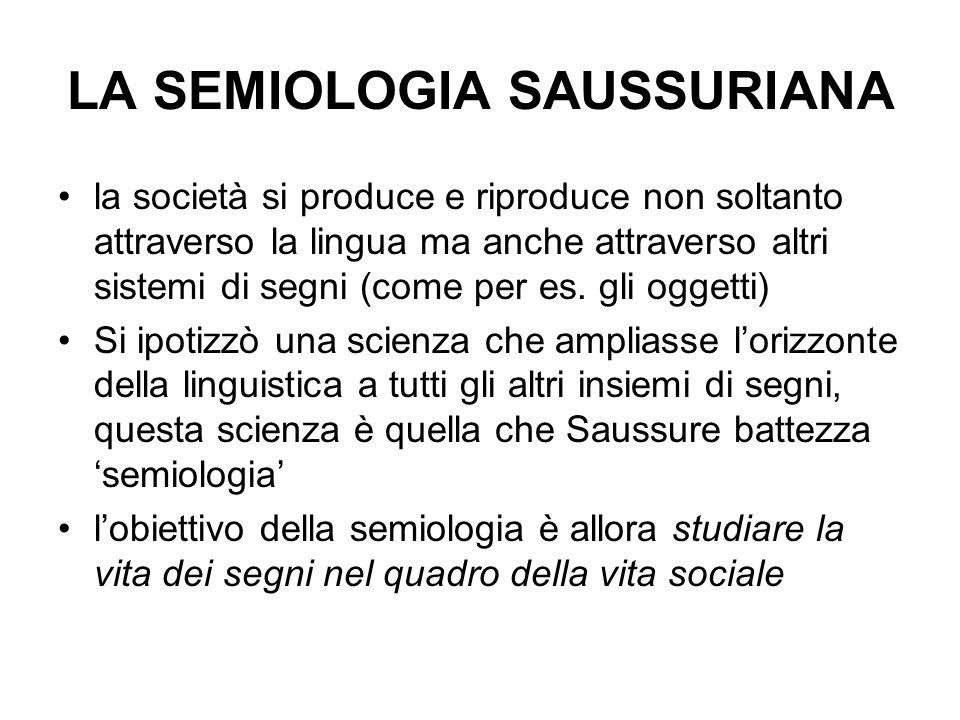 LA SEMIOLOGIA SAUSSURIANA la società si produce e riproduce non soltanto attraverso la lingua ma anche attraverso altri sistemi di segni (come per es.