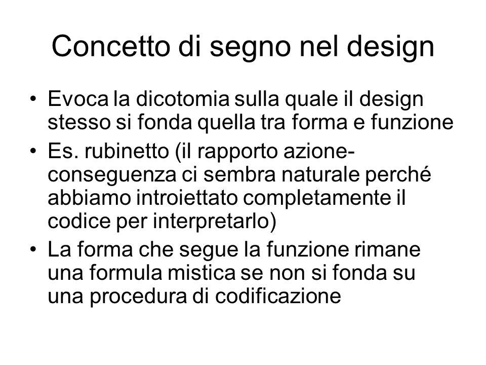 Concetto di segno nel design Evoca la dicotomia sulla quale il design stesso si fonda quella tra forma e funzione Es. rubinetto (il rapporto azione- c