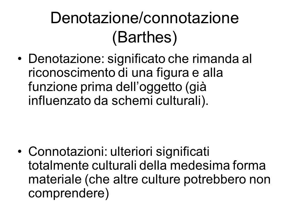 Denotazione/connotazione (Barthes) Denotazione: significato che rimanda al riconoscimento di una figura e alla funzione prima delloggetto (già influen