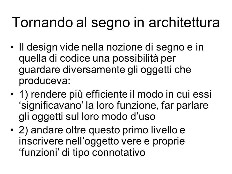 Tornando al segno in architettura Il design vide nella nozione di segno e in quella di codice una possibilità per guardare diversamente gli oggetti ch