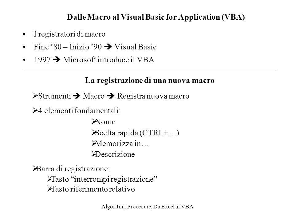 Algoritmi, Procedure, Da Excel al VBA Dalle Macro al Visual Basic for Application (VBA) I registratori di macro Fine 80 – Inizio 90 Visual Basic 1997