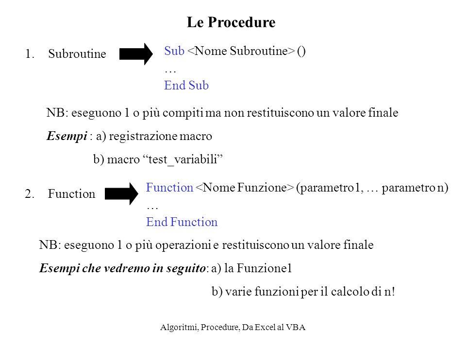 Algoritmi, Procedure, Da Excel al VBA Le Procedure 1.Subroutine 2.Function Sub () … End Sub NB: eseguono 1 o più compiti ma non restituiscono un valor