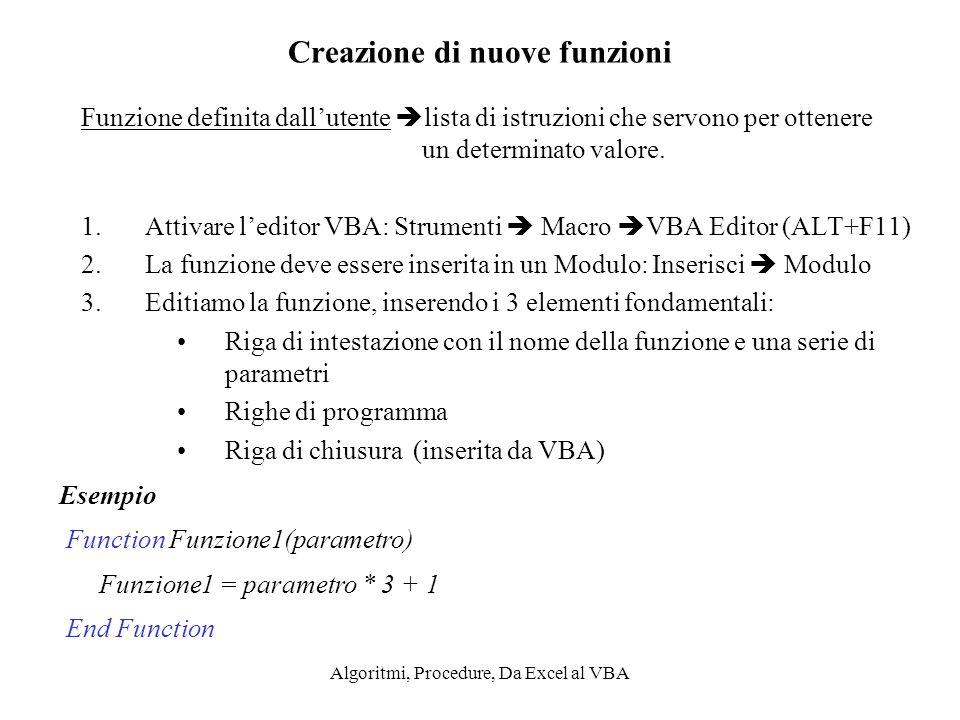 Algoritmi, Procedure, Da Excel al VBA Creazione di nuove funzioni Funzione definita dallutente lista di istruzioni che servono per ottenere un determi