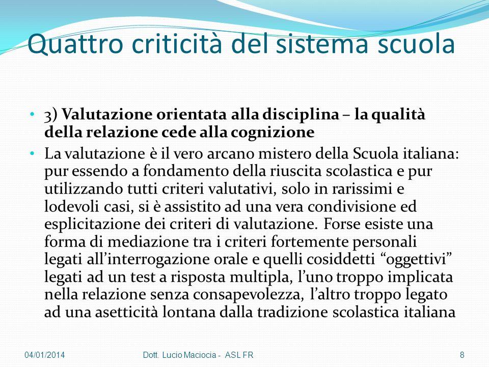 Quattro criticità del sistema scuola 4) sistema cultura orientato alleconomicismo Mancata definizione della Qualità dellofferta formativa.