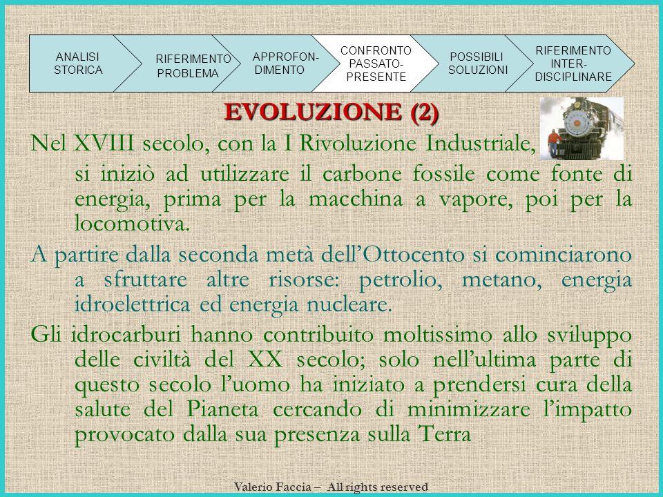Valerio Faccia – All rights reserved EVOLUZIONE (2) Nel XVIII secolo, con la I Rivoluzione Industriale, si iniziò ad utilizzare il carbone fossile com
