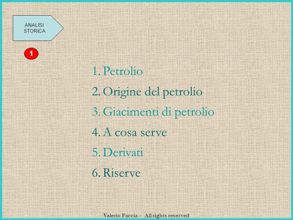 Valerio Faccia – All rights reserved ANALISI STORICA 1 1.Petrolio 2.Origine del petrolio 3.Giacimenti di petrolio 4.A cosa serve 5.Derivati 6.Riserve