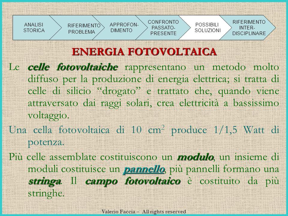 Valerio Faccia – All rights reserved ENERGIA FOTOVOLTAICA Le celle fotovoltaiche rappresentano un metodo molto diffuso per la produzione di energia el