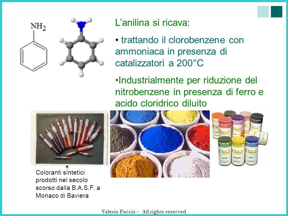 Lanilina si ricava: trattando il clorobenzene con ammoniaca in presenza di catalizzatori a 200°C Industrialmente per riduzione del nitrobenzene in pre
