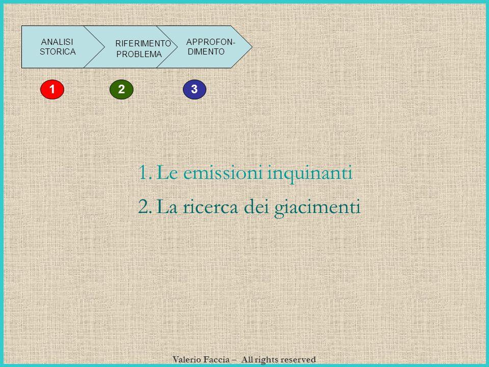 Valerio Faccia – All rights reserved ANALISI STORICA RIFERIMENTO PROBLEMA APPROFON- DIMENTO 3 12 1.Le emissioni inquinanti 2.La ricerca dei giacimenti