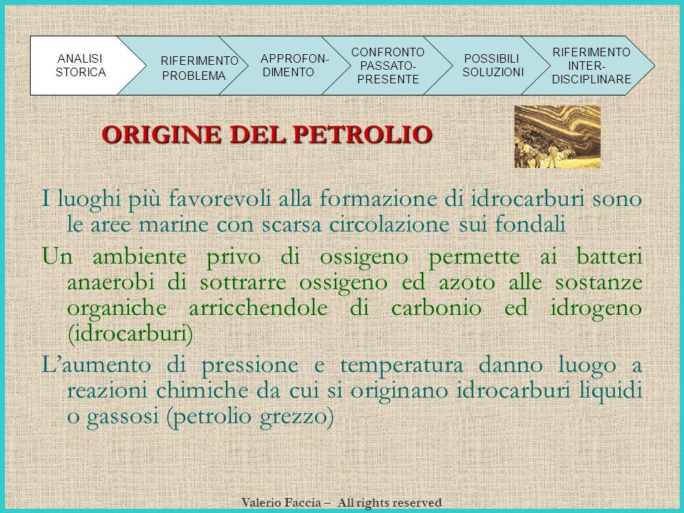 Valerio Faccia – All rights reserved O RIGINE DEL PETROLIO I luoghi più favorevoli alla formazione di idrocarburi sono le aree marine con scarsa circo