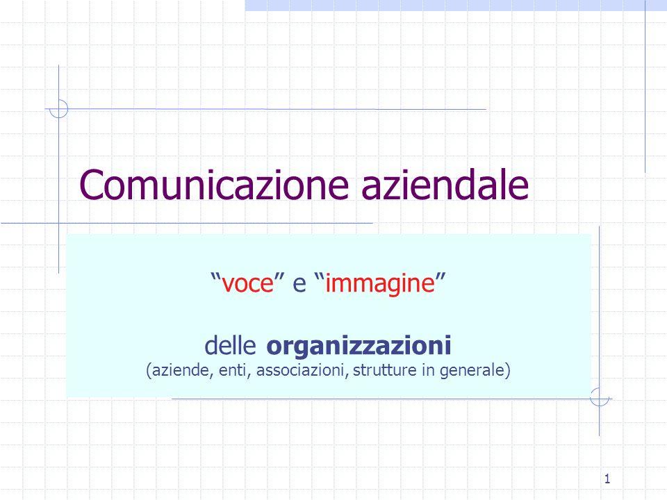 1 Comunicazione aziendale voce e immagine delle organizzazioni (aziende, enti, associazioni, strutture in generale)