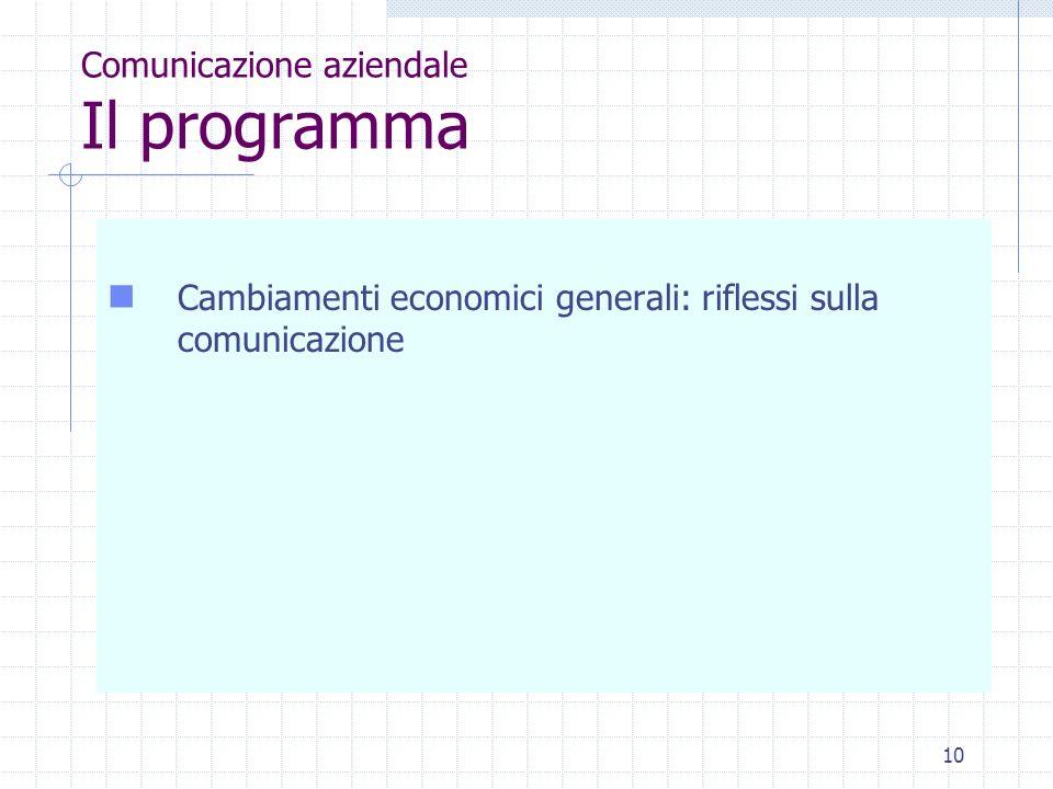 10 Comunicazione aziendale Il programma Cambiamenti economici generali: riflessi sulla comunicazione