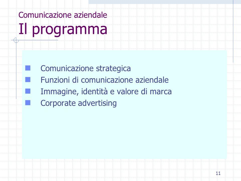11 Comunicazione aziendale Il programma Comunicazione strategica Funzioni di comunicazione aziendale Immagine, identità e valore di marca Corporate advertising