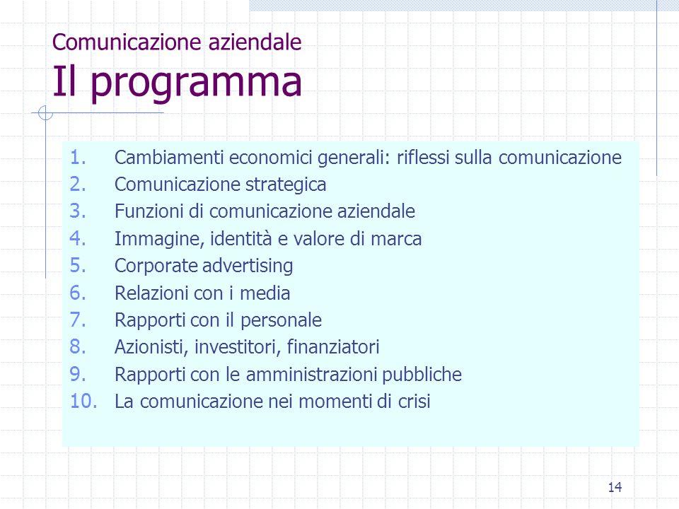 14 Comunicazione aziendale Il programma 1.