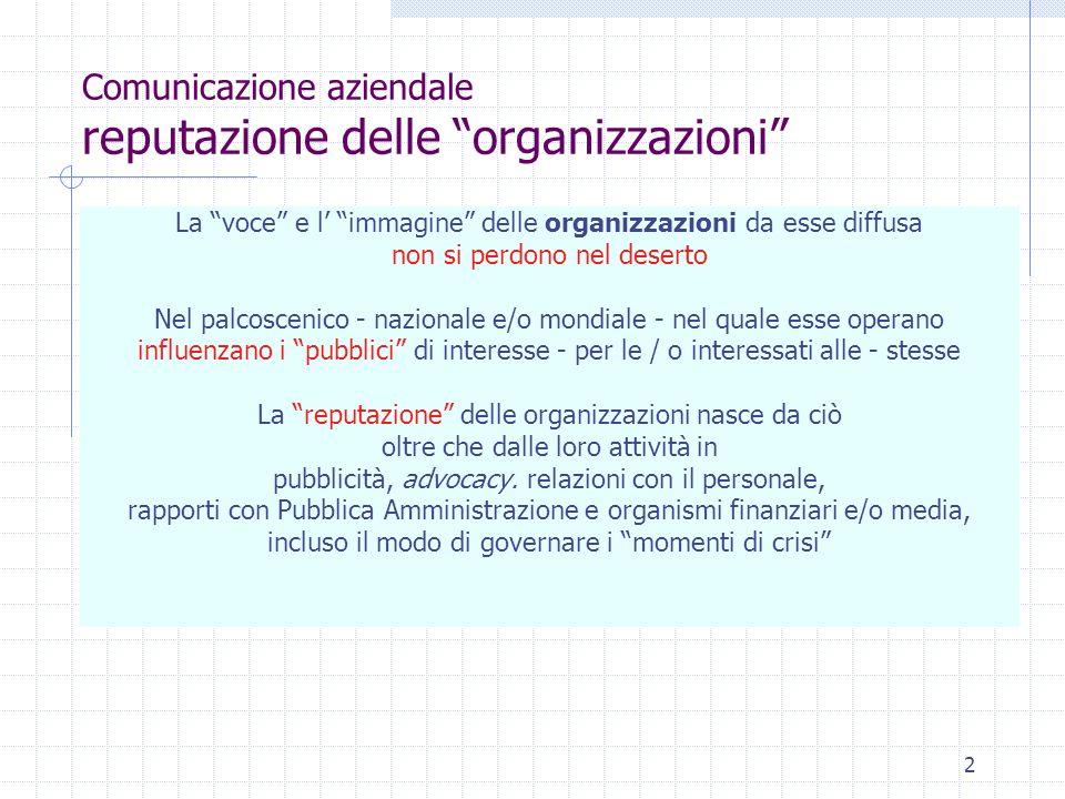 13 Comunicazione aziendale Il programma La comunicazione nei momenti di crisi