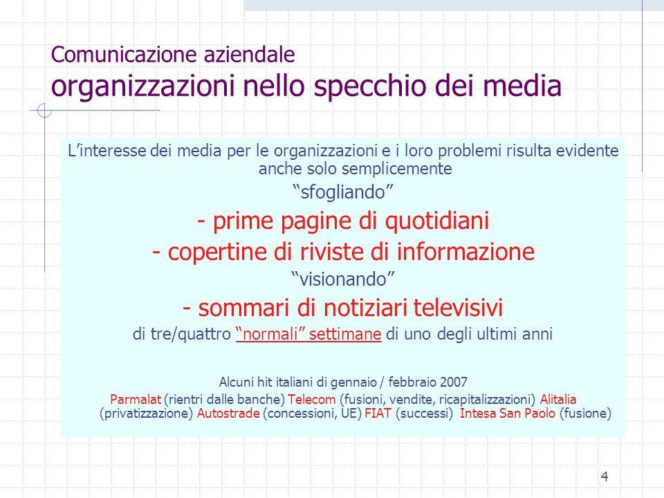 4 Comunicazione aziendale organizzazioni nello specchio dei media Linteresse dei media per le organizzazioni e i loro problemi risulta evidente anche solo semplicemente sfogliando - prime pagine di quotidiani - copertine di riviste di informazione visionando - sommari di notiziari televisivi di tre/quattro normali settimane di uno degli ultimi anni Alcuni hit italiani di gennaio / febbraio 2007 Parmalat (rientri dalle banche) Telecom (fusioni, vendite, ricapitalizzazioni) Alitalia (privatizzazione) Autostrade (concessioni, UE) FIAT (successi) Intesa San Paolo (fusione)