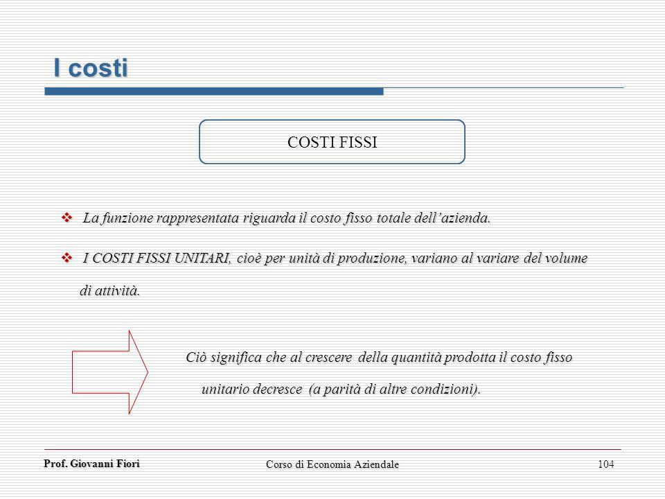 Prof. Giovanni Fiori Corso di Economia Aziendale104 COSTI FISSI La funzione rappresentata riguarda il costo fisso totale dellazienda. La funzione rapp