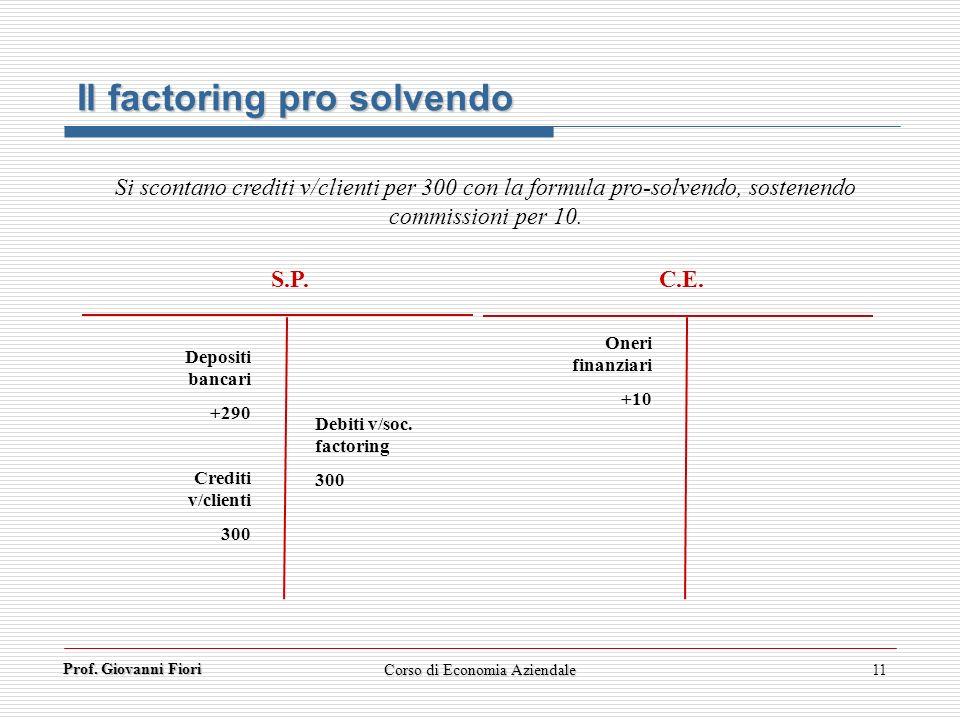 Prof. Giovanni Fiori 11 Il factoring pro solvendo Si scontano crediti v/clienti per 300 con la formula pro-solvendo, sostenendo commissioni per 10. S.