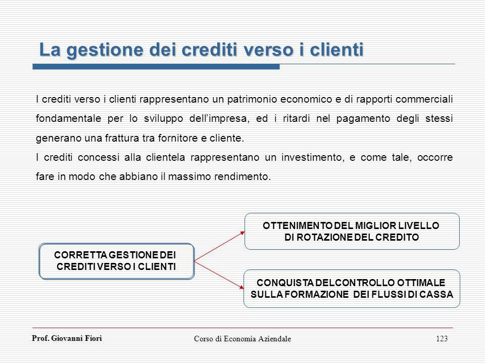 Prof. Giovanni Fiori Corso di Economia Aziendale123 La gestione dei crediti verso i clienti I crediti verso i clienti rappresentano un patrimonio econ