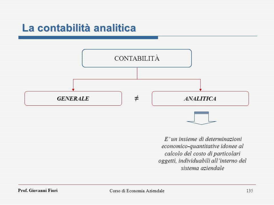 Corso di Economia Aziendale135 La contabilità analitica CONTABILITÀ GENERALE ANALITICA E un insieme di determinazioni economico-quantitative idonee al