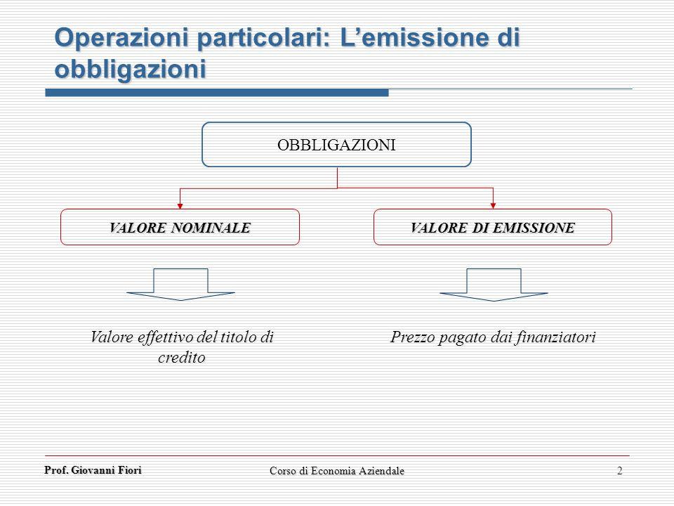 Prof. Giovanni Fiori 2 OBBLIGAZIONI VALORE NOMINALE VALORE DI EMISSIONE Valore effettivo del titolo di credito Prezzo pagato dai finanziatori Operazio