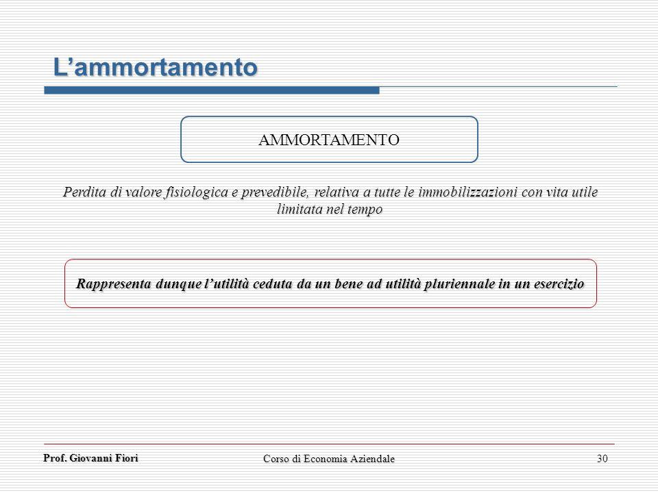 Prof. Giovanni Fiori 30 Lammortamento AMMORTAMENTO Perdita di valore fisiologica e prevedibile, relativa a tutte le immobilizzazioni con vita utile li