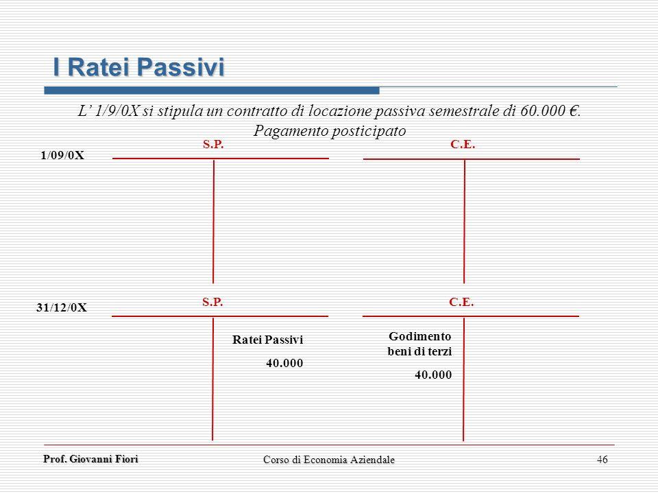 Prof. Giovanni Fiori 46 I Ratei Passivi 1/09/0X 31/12/0X S.P. C.E. S.P. C.E. Ratei Passivi 40.000 Godimento beni di terzi 40.000 L 1/9/0X si stipula u