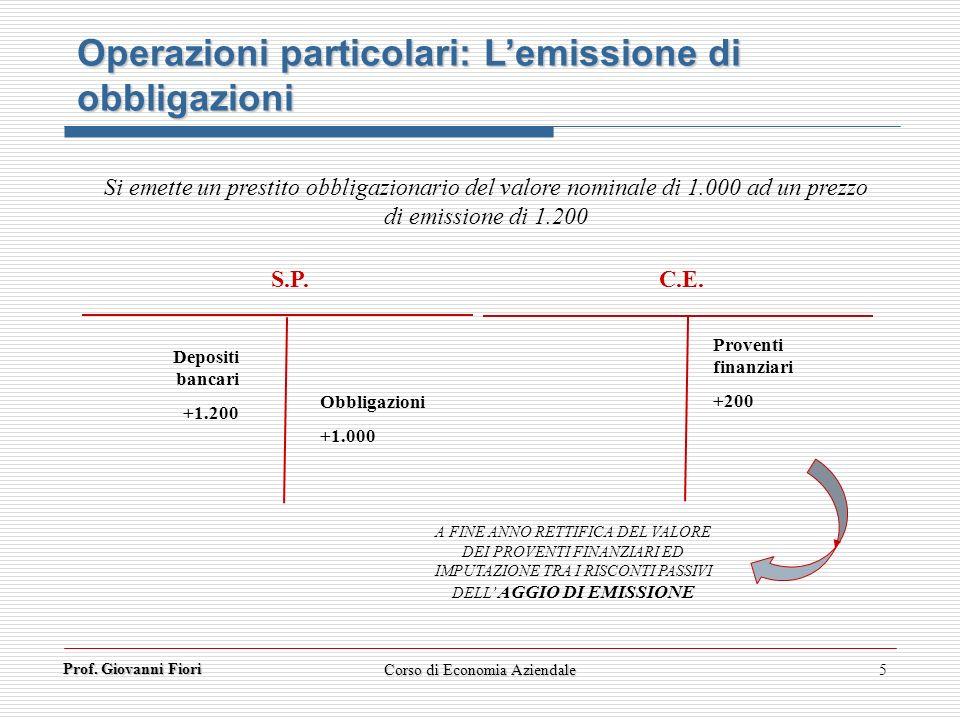 Prof. Giovanni Fiori 5 Si emette un prestito obbligazionario del valore nominale di 1.000 ad un prezzo di emissione di 1.200 Operazioni particolari: L
