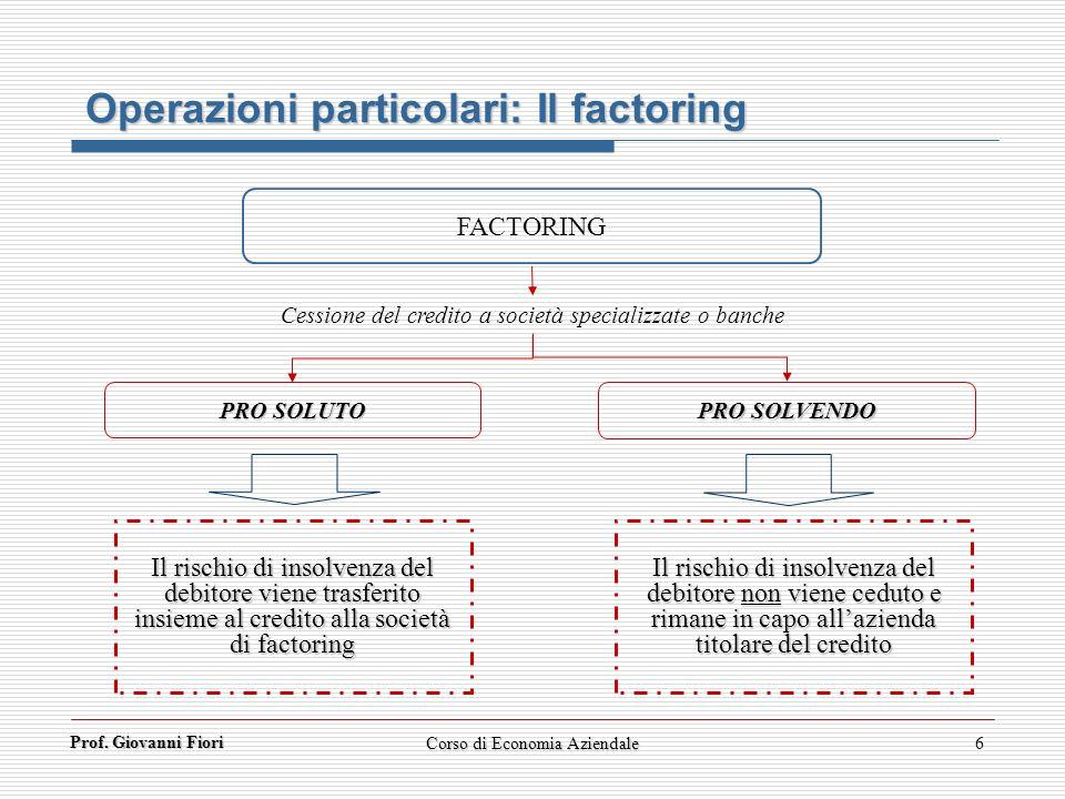 Prof. Giovanni Fiori 6 Operazioni particolari: Il factoring FACTORING Il rischio di insolvenza del debitore viene trasferito insieme al credito alla s
