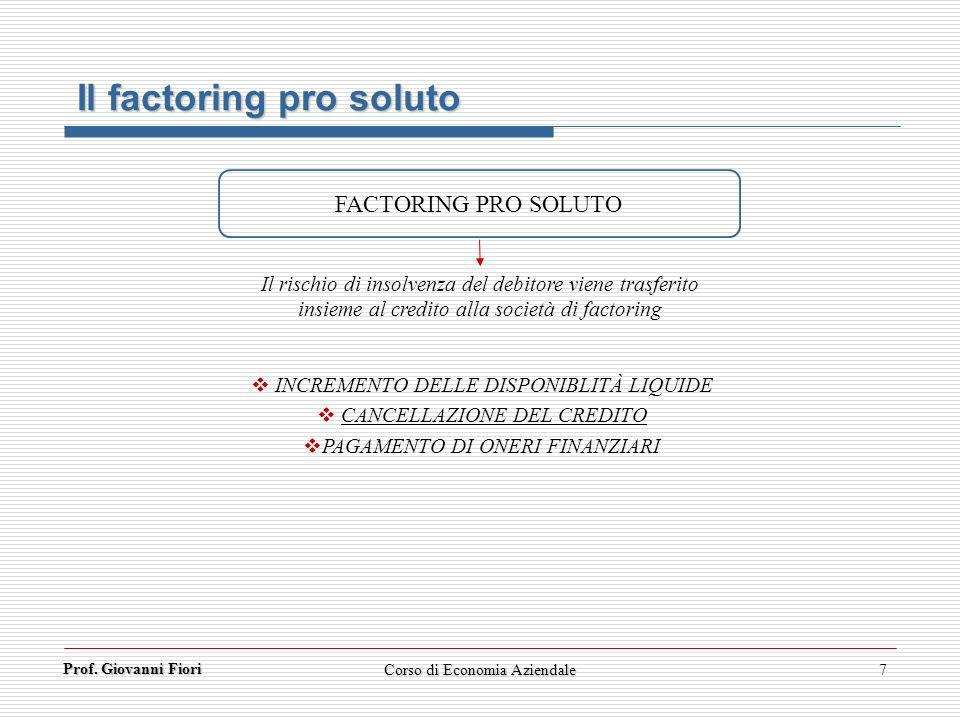 Prof. Giovanni Fiori 7 Il factoring pro soluto FACTORING PRO SOLUTO Il rischio di insolvenza del debitore viene trasferito insieme al credito alla soc