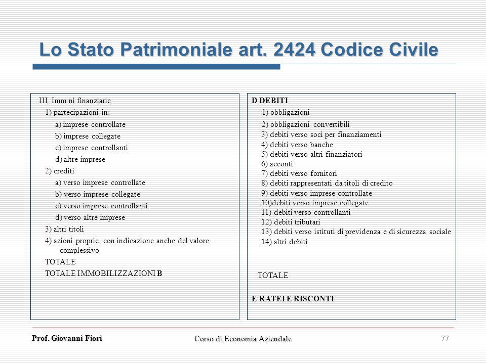 Prof. Giovanni Fiori Corso di Economia Aziendale77 Lo Stato Patrimoniale art. 2424 Codice Civile III. Imm.ni finanziarie 1) partecipazioni in: a) impr