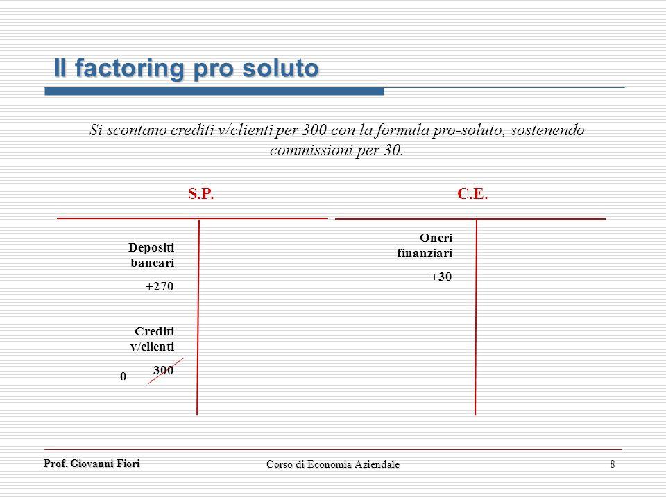 Prof. Giovanni Fiori 8 Il factoring pro soluto Si scontano crediti v/clienti per 300 con la formula pro-soluto, sostenendo commissioni per 30. S.P. C.