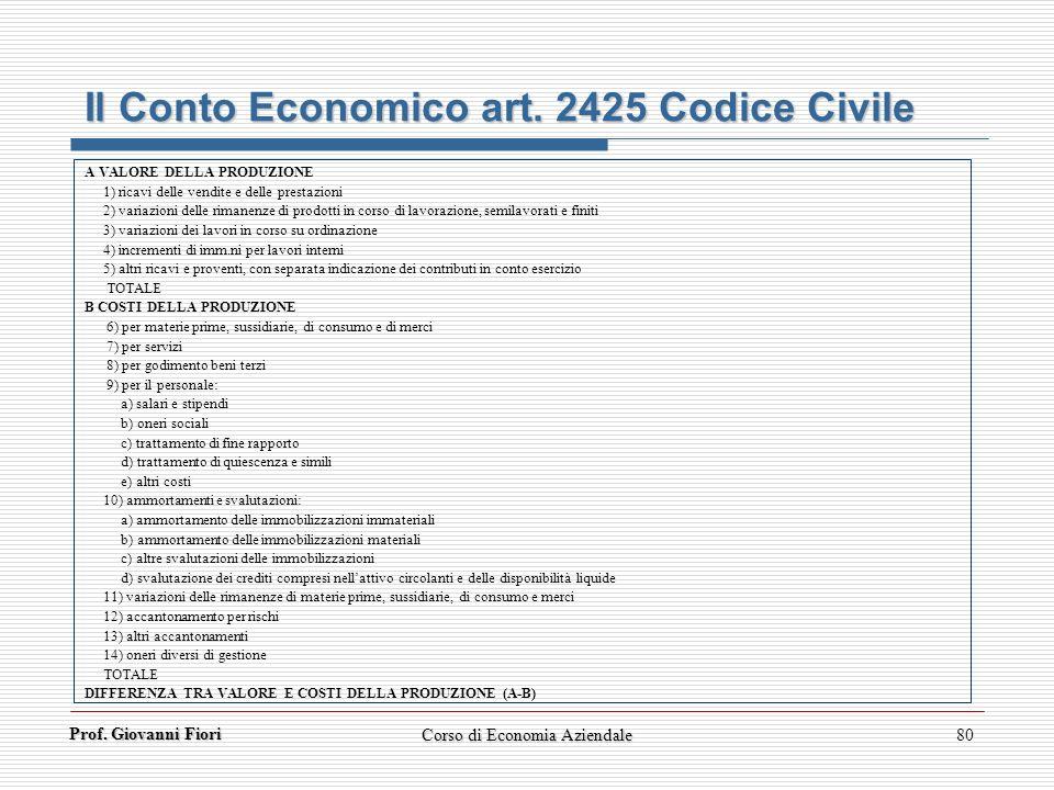 Prof. Giovanni Fiori Corso di Economia Aziendale80 Il Conto Economico art. 2425 Codice Civile A VALORE DELLA PRODUZIONE 1) ricavi delle vendite e dell