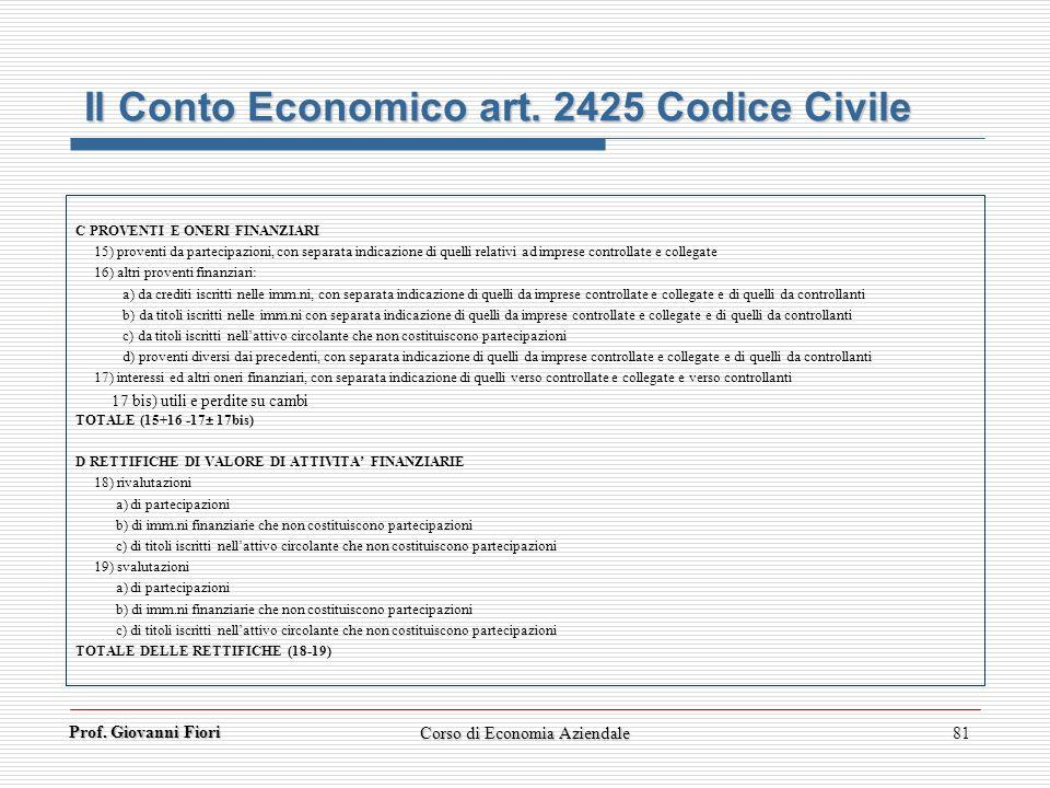 Prof. Giovanni Fiori Corso di Economia Aziendale81 Il Conto Economico art. 2425 Codice Civile C PROVENTI E ONERI FINANZIARI 15) proventi da partecipaz