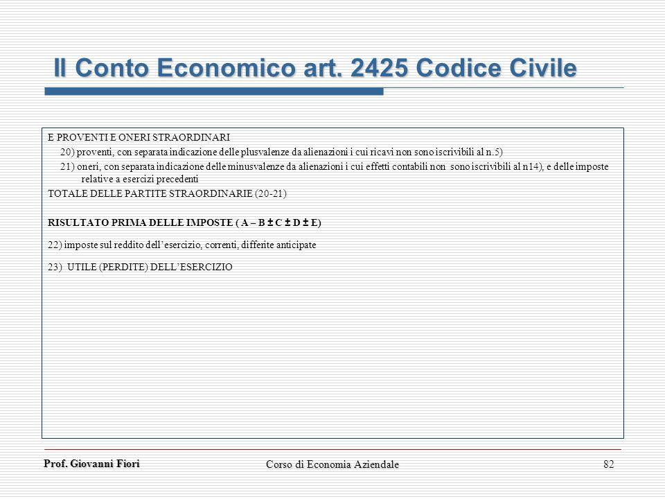 Prof. Giovanni Fiori Corso di Economia Aziendale82 Il Conto Economico art. 2425 Codice Civile E PROVENTI E ONERI STRAORDINARI 20) proventi, con separa