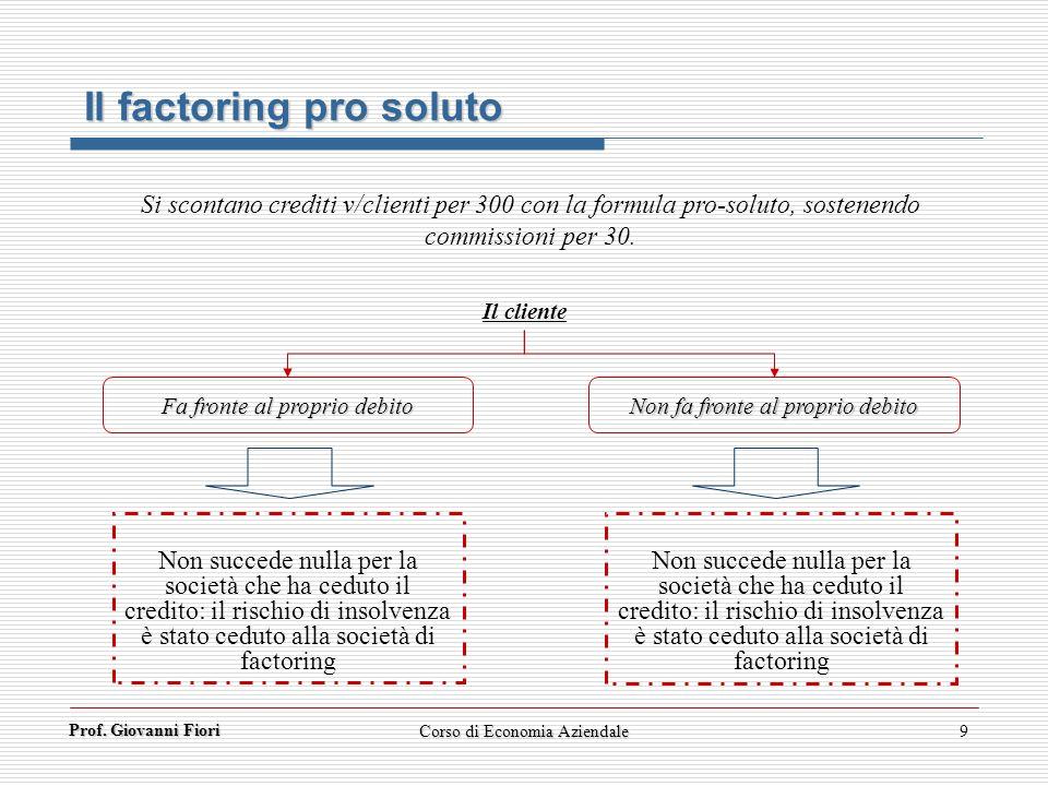 Prof. Giovanni Fiori 9 Il factoring pro soluto Si scontano crediti v/clienti per 300 con la formula pro-soluto, sostenendo commissioni per 30. Non suc