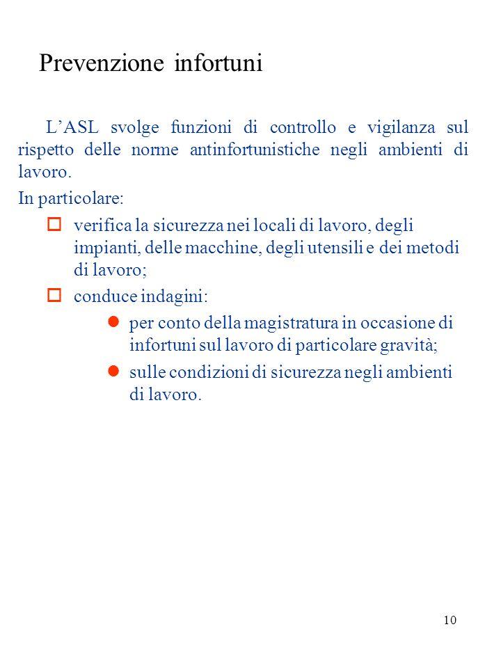 9 Aziende Sanitarie Locali Le ASL sono strutture operative del Servizio Sanitario Nazionale presenti a livello provinciale sul territorio. Nellambito