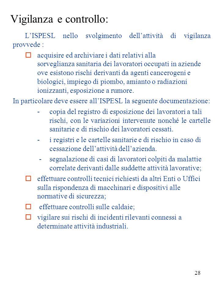 27 Compiti LISPESL svolge le attività di informazione, consulenza e assistenza: in materia di sicurezza e salute nei luoghi di lavoro; consulenza nell